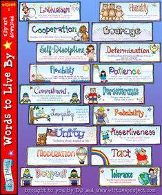 Teacher Bits and Bobs: Free Virtues Writing Packet Character Words, Character Counts, Character Qualities, Character Trait, 1 Clipart, Dj Inkers, Teaching Posters, Responsive Classroom, Moral