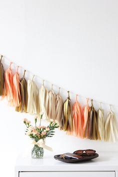 Inspired by these colors! #tassels #garland #party