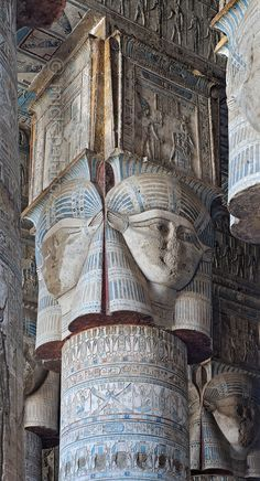 [EGYPT 'Outer hypostyle hall of Hathor Temple at Dendera.' The columns in the outer hypostyle hall (or pronaos) of the Hathor Temple at Dendera are crowned by four-sided capitals carved with the face of the cow-eared goddess. The faces symbolize th Ancient Ruins, Ancient Artifacts, Ancient History, European History, Ancient Greece, American History, Ancient Egyptian Architecture, Architecture Antique, Old Egypt
