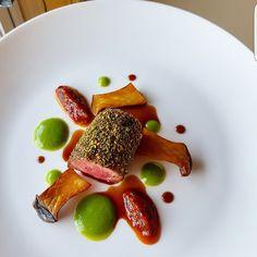 Roasted Lamb Loin, Chard Tomato, King Mushroom, Minted Pea Puree