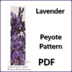 Lavender Peyote Pattern Beading - Tutorial PDF - instant download    The pattern is designed based on using a peyote stitch with Miyuki Delices Size 11 beads. Patterns also work well with seed beads.    Thank you for taking the time to take a look at one of our patterns.  All patterns have been created with great care so as to ensure excellent results. This pattern uses 13 colours and is approx. 4,45 cm 1.75in x 16,36 cm 6.44in Upon purchasing one of our patterns you will have instant…