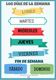 LOS DÍAS DE LA SEMANA / DAYS OF THE WEEK POSTER (SPANISH, FRENCH AND ENGLISH)