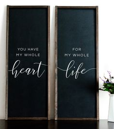 You Have My Whole Heart For My Whole Life Wood Sign | Wood Sign Duo | Wood Signs Set of Two | Whole Heart Whole Life Bedroom Wall Decor | Wood Painted Signs VISIT the shop for this beautiful wood sign duo and other signs!