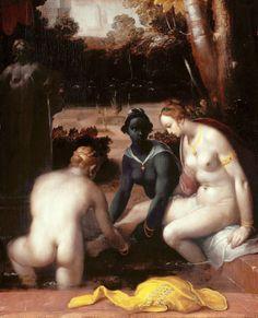 Cornelis van Haarlem Bathsheba at her Bath Netherlands (1594)