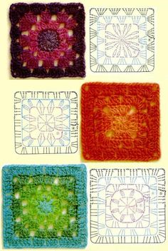 Crochet granny square with circle, chart. Point Granny Au Crochet, Granny Square Crochet Pattern, Crochet Diagram, Crochet Chart, Crochet Squares, Crochet Motif, Crochet Stitches, Granny Granny, Crochet Bedspread