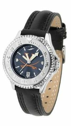 Virginia Cavaliers UVA NCAA Womens Leather Wrist Watch by SunTime. $78.95. Adjustable Band. Officially Licensed Virginia Cavaliers Ladies Leather Wristwatch. Poly/Leather Band. Women. Water Resistant. Showcase the hottest design in watches today! A functional rotating bezel is color-coordinated to compliment your favorite team logo. A durable long-lasting combination nylon/leather strap together with a date calendar round out this best-selling timepiece.