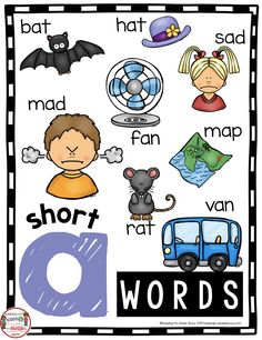 CVC Short Vowel Anchor Chart Short A words for kindergarten or first grade - literacy center or small group guided reading activity - No Prep for pre-k or first grade - CVC words Phonics Unit FREE Printables and Worksheets Anchor Charts First Grade, Kindergarten Anchor Charts, Kindergarten Freebies, Kindergarten Reading, Kindergarten Centers, Literacy Centers, Short Vowel Activities, Phonics Activities, Free Activities