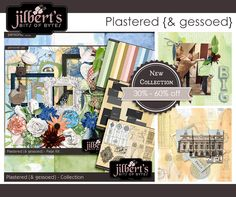 I have a brand new collection for you -- Plastered {& gessoed}. It's filled to the brim with with plastered flowers, leaves, bugs along with gesso splashed elements and papers. I did all the messy work for you ... all that's left is for you to enjoy creating with it. It's 30% off in my shops at theStudio and Jilbert's Bits of Bytes.