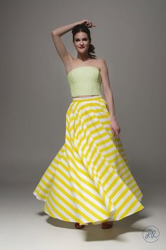 Unique beautiful elegant yellow and white striped maxi skirt, summer skirt designed by Polish Designer La Roue