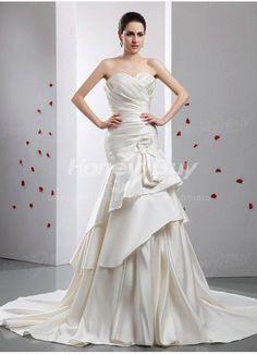 Mermaid Sweetheart Court Satin Ivory Wedding Dresses