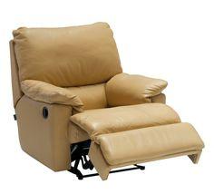 Dania recliner, upholstered in aniline leather Veneto Mostaza.