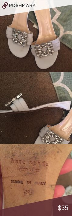 Kate spade norella  sandals white jeweled Beautiful used a few times but still great condition always wrapped in tissue paper after wearing them stones intact. Kate Spade Shoes Mules & Clogs