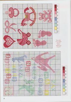 Gallery.ru / Фото #17 - Point de Croix Magazine-N°96-Janvier-Fevrier-2015 - NINULYKA Rag Quilt, Baby Disney, Cross Stitch Patterns, Cross Stitch Alphabet, Cross Stitch Baby, Baby Patterns, Plastic Canvas, Creations, Layette