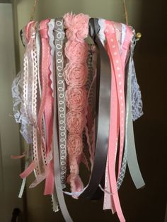 Baby Girl Mobile  Ribbon and Lace Chandelier  by rowanmontgomery