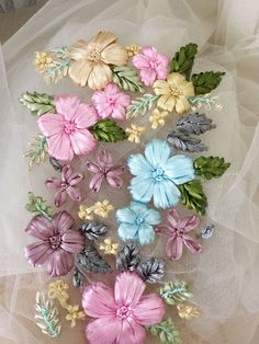 Items similar to Handmade flower ribbon lace applique in pink green blue dust pink mix color for wedding hair flower, baby headband on Etsy Ribbon Embroidery Tutorial, Ribbon Flower Tutorial, Hand Embroidery Flowers, Hand Work Embroidery, Silk Ribbon Embroidery, Hand Embroidery Designs, Embroidery Kits, Lace Applique, Floral Embroidery