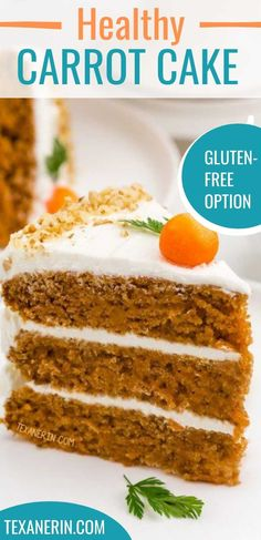 This healthy carrot cake recipe is incredibly moist and nobody will believe it's whole wheat! Recipe includes a less sugary cream cheese frosting. Can also be made with all-purpose flour or gluten-free flour. This one is delicious! #carrotcake #healthy #glutenfree #wholewheat Desserts Menu, Healthy Dessert Recipes, Gluten Free Flour, Gluten Free Cakes, Whole Wheat Carrot Cake, Healthy Carrot Cakes, Glutenfree, Great Recipes, Frosting