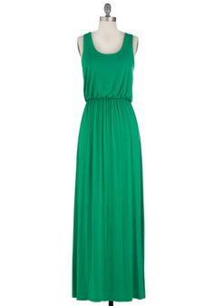 Green maxi dress.