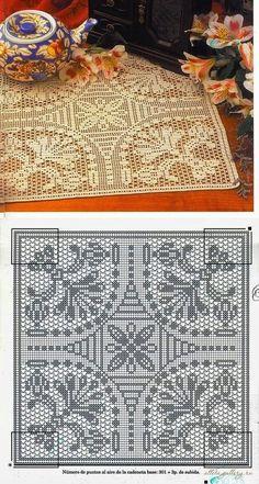 Crochet Tablecloth Pattern, Crochet Placemats, Crochet Cushions, Crochet Doilies, Filet Crochet Charts, C2c Crochet, Thread Crochet, Hand Crochet, Doily Patterns