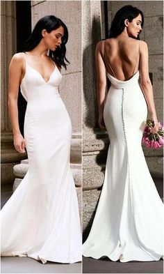e795a0436d Mermaid Wedding Dress Long White Backless Sweep Train Sleeveless Deep V-neck