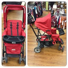 Joovy Caboose Sit-N-Stand Stroller includes parent organizer, tray, car seat adapter and all-season pad. Kid to Kid price $109.99!!