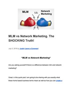 What is the difference between mlm and network marketing? Discover the truth in this quick post mlm vs network marketing. Document Sharing, Marketing