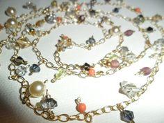 Rolled Gold and Swarovski beaded Sparkle Necklace Pearl Necklace, Swarovski, Art Pieces, Sparkle, Felt, Pearls, Bracelets, Jewelry, Design