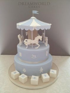 Creative Cake Decorating, Birthday Cake Decorating, Make Your Own Wedding Cakes, Stork Cake, Baby Reveal Cakes, Bebe Shower, Candy Themed Party, Carousel Cake, Fathers Day Cake