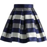 Chicwish Cute Stripes Pleated Skirt in Blue