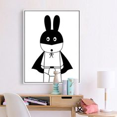 Black White Kawaii batman canvas art painting Poster Modern Minimalist Nordic Kids Room Home Decor Wall Pictures for living room