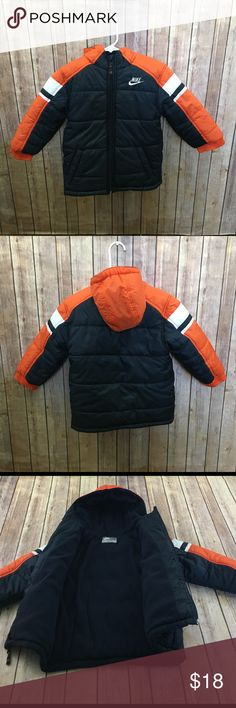 Nike Boys Puffer Coat Lined Nike Coat Jacket Boys Size 4 Orange Blue Puffer Lined Winter Toddler. Good preowned Condition minor signs of wear. Nike Jackets & Coats Puffers