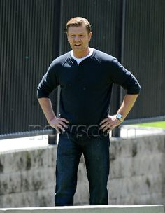"Sean Bean playing soccer on the set of ""Legends"" - Click for a bunch more. *Sigh*"