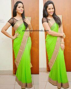 Latest Traditional and Designer Sarees: Anasuya in Neon Green saree