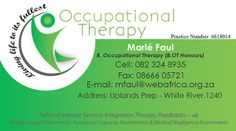 Business Card For Marle Faul Occupational The White River Created By Design So Fine Designs Pinterest