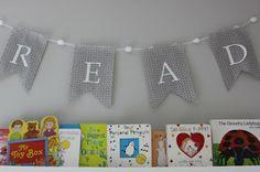"""Read"" banner over library wall - #nurserydecor"
