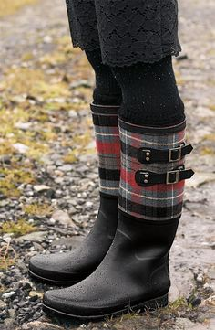 Tartan-Trimmed Wellies  These tartan-trimmed boots add a bit of color and pattern to outfits. Choose from turquoise or red tartan!   140$ at Nordstrom.