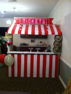 diy ticket booth!  Mostly Made of Cardboard!
