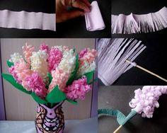 hyacinten knutselen van crepe-papier