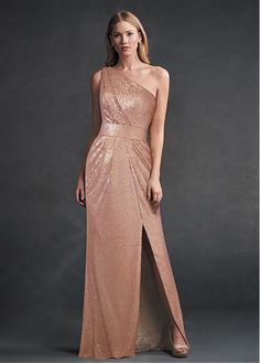 5736cf01bb2  91.99  Sparkly Sequin Lace One Shoulder Neckline Sheath Column Bridesmaid  Dresses With Slit