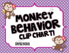 Monkey Themed Behavior Clip Chart Available in Polka Dots & Stripes from The Primary Gal on TeachersNotebook.com (16 pages)