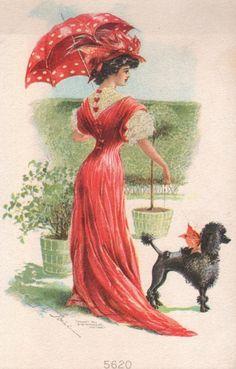 Divided Back Art Nouveau Signed Pretty Girl with Umbrella Walks Poodle Dog