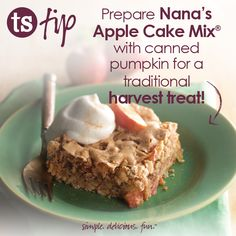 Prepare Nana's Apple Cake Mix with canned pumpkin for a traditional harvest treat! Thursday Quotes, Happy Thursday, Tastefully Simple Recipes, Cooking Tips, Cooking Recipes, Cupcake Cakes, Cupcakes, Homemade Sweets, Cake Mixes