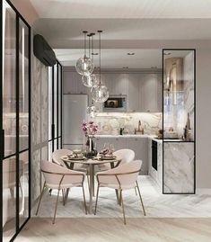 Modern Kitchen Design, Modern Interior Design, Interior Design Kitchen, Room Interior, Kitchen Contemporary, Gray Interior, Dining Room Lighting, Kitchen Lighting, Wall Lighting
