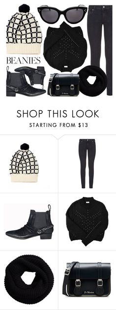 """Cold Weather Look"" by smartbuyglasses ❤ liked on Polyvore featuring Paige Denim, YM by Yakshi Malhotra, Dr. Martens, black and pompombeanies"