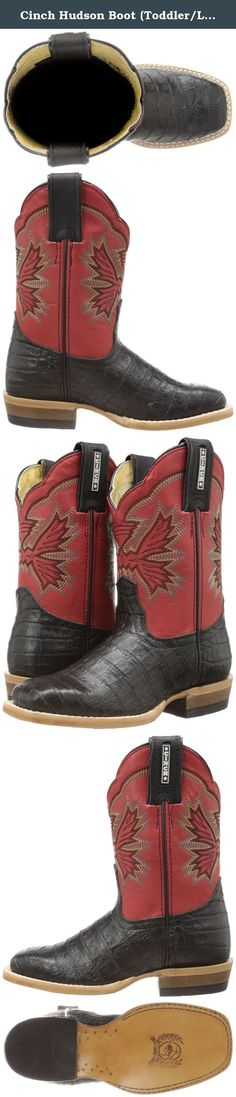 Cinch Hudson Boot (Toddler/Little Kid/Big Kid),Black/Red,9 M US Toddler. Kids Cinch Western Boots: Boys Cinch Cowboy Boots. Young Cowboys are wild and free! These youth western boots from Cinch features an all over caiman print leather vamp and 10 inch upper shaft. Cowboy toe and a quality kids leather natural heel. For boys or girls. Childrens cowboy boots. Grandma bait, Get hooked! KCK103.