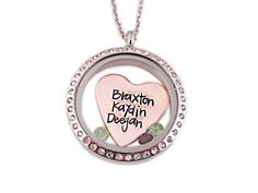 Mixed Metal Personalized Heart Names Locket
