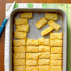 Lemon Coconut Squares Recipe -The tangy lemon flavor of this no-fuss bar dessert is especially delicious on a warm day. It reminds me of selling lemonade on the sidewalk as a little girl. —Donna Biddle, Elmira, New York