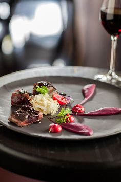 Roast Springbok loin, pickled cabbage, purple cabbage puree, num nums and liquorice jus Delaire Graff Restuarant, Stellenbosch Pickled Cabbage, Cake Flavors, Fish And Chips, Chef Recipes, Perfect Food, Culinary Arts, Food Presentation, Food Plating, Food Inspiration