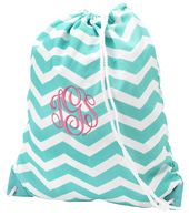 """Personalized Aqua Chevron Drawstring Gym Bag . This embroidered backpack style gym bag measures 15""""L x 18.5""""H. Made from durable Polyester with a strong drawstring closure."""