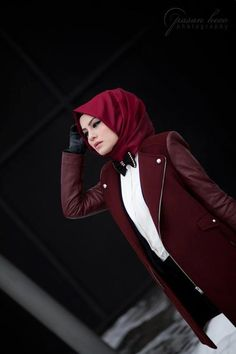 red burgundy leather sleeved coat