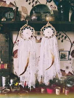 """Gypsy Mermaid"" #bohemian mini dream catcher  Handmade of metal hoop wrapped with jute , crochet  cotton doily, creamy laces, sea shells,  and  feather  Bohemian bedroom dec... #etsy #boho #bohodecor #gypsy #dreamcatcher"